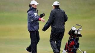 Women finish their round of golf at Muirfield Golf Club on May 19, 2016 in Gullane, Scotland