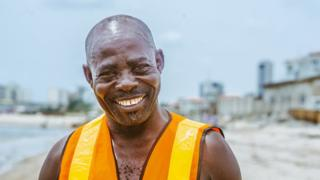 Lifeguard Samuel Omohon in Lagos, Nigeria