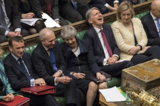 Theresa May and her cabinet in the House of Commons
