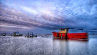 Old fishing boat'Nautilus' shot on a long exposure at Thornham Staithe