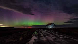 Northern Lights over Thornham Staithe in Norfolk